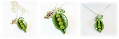 Pea Pod Necklace handmade from polymer clay by Lottie of London Jewellery
