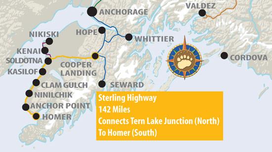 Maps of Alaska Roads By Bearfoot Guides: Map of The Sterling Highway Kasilof Map on manley hot springs map, cordova map, eielson afb map, new stuyahok map, holy cross map, marshall map, yakutat map, adak map, king salmon map, talkeetna map, mountain village map, nome map, anchorage map, homer map, big lake map, whittier map, wainwright map, tustumena lake map, sitka map, st. paul island map,