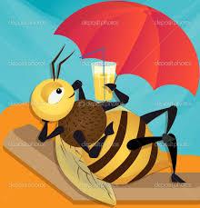 Dessin d'abeille sous un parasol