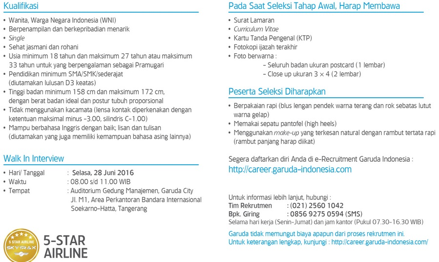 Lowongan Kerja Pramugari Reguler Garuda Indonesia Juni 2016