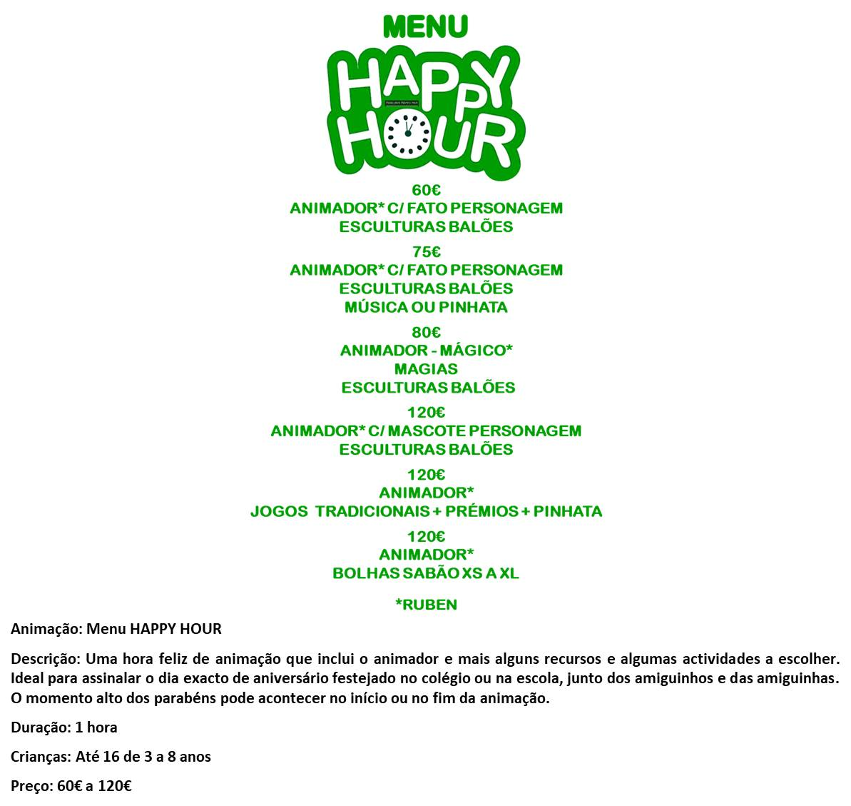 MENU HAPPY HOUR