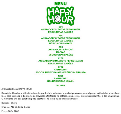 Animação Menu Happy Hour