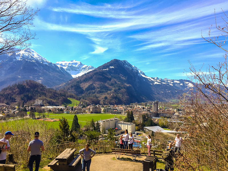 View from the first resting point while climbing Harder Klum in Interlaken Switzerland