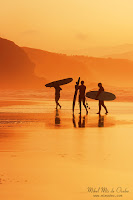 Surfistas al atardecer