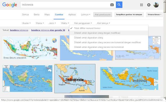 cara mendapat gambar bebas lisensi di Google
