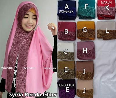 Model Jilbab terbaru Syiria Renda Gliter