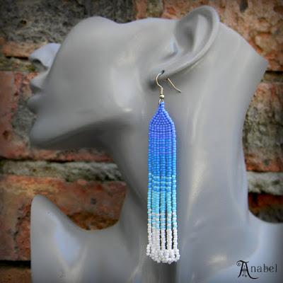 купить длинные нежные серьги цена голубые серьги голубого цвета из бисера