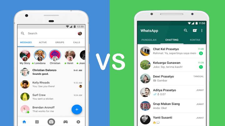 Perbedaan Tampilan WhatsApp Messenger dan Facebook Messenger