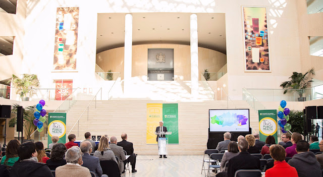 The University of Alberta's School of Public Health released its Report to the Community to an audience of collaborators, supporters, friends and community members at Edmonton's City Hall.