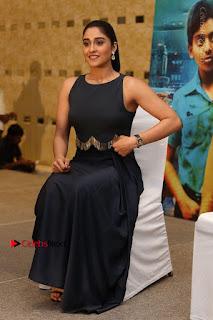 Actress Regina Candra Stills in Beautiful Blue Long Dress at Nagaram Success Meet  0160.JPG