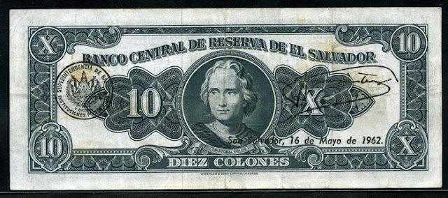 El Salvador paper money 10 Colones note Christopher Columbus
