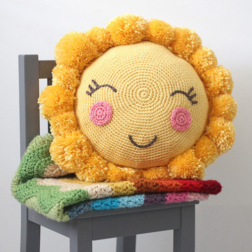 Crochet Pompom Sunshine Pillow - Free Pattern