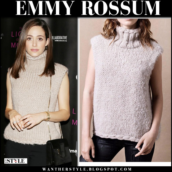 Emmy Rossum in beige knit turtleneck sleeveless sweater smythe and black pants fashion red carpet november 2017