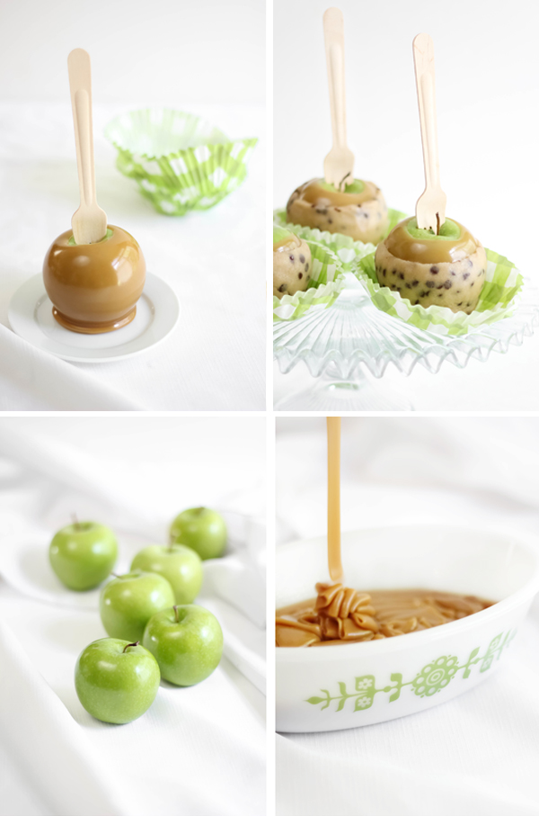 Chocolate Chip Cookie Dough Caramel Apples - Sprinkle Bakes
