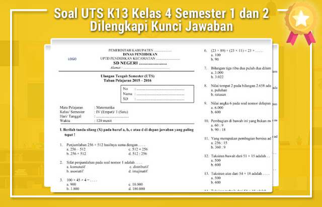 Soal UTS K13 Kelas 4 Semester 1 dan 2 Dilengkapi Kunci Jawaban