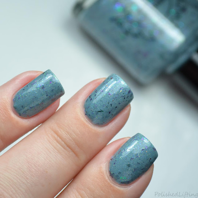 sky blue nail polish with multichrome flakies