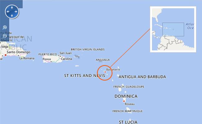 Peta Saint Kitts and Nevis