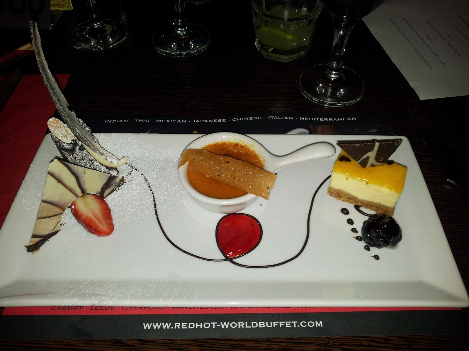 Mini Creme Brulee, Brownies & Cheesecake, Red Hot Buffet Cardiff