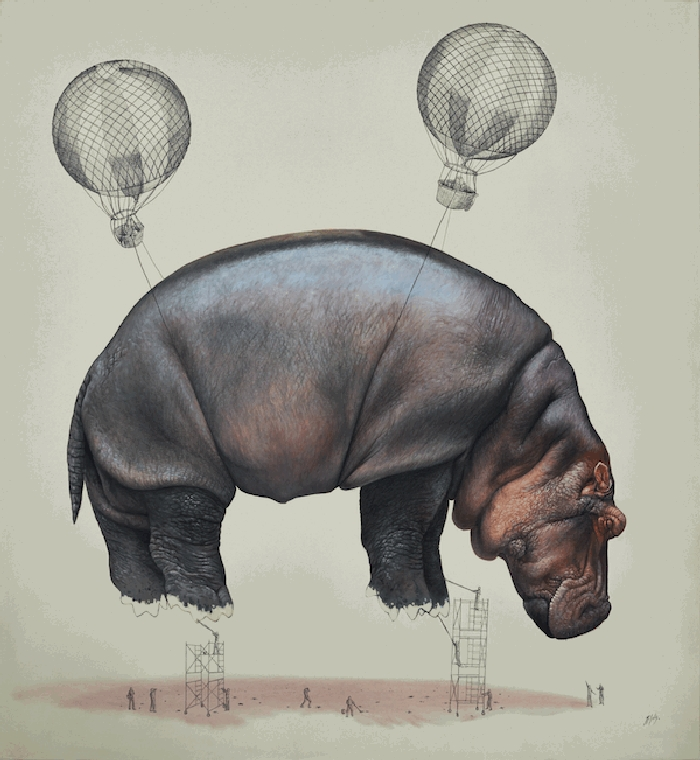 14-Final-Touches-Hippo-Ricardo-Solis-Surreal-Illustrations-of-Animals-in-Mid-Construction-www-designstack-co