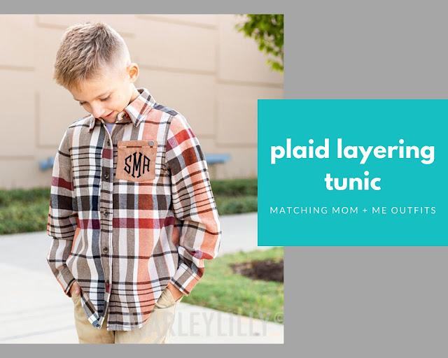 monogram plaid layering tunic