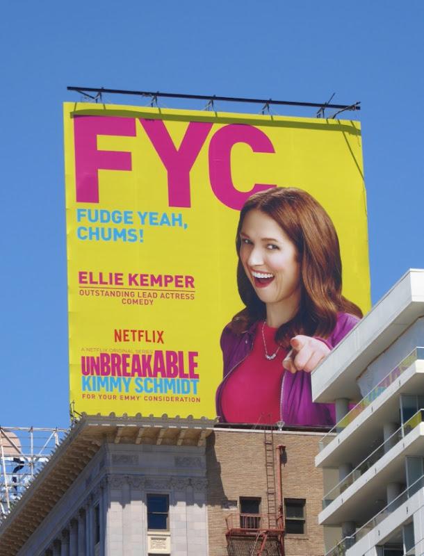 Unbreakable Kimmy Schmidt Fudge Yeah Chums Emmy FYC billboard