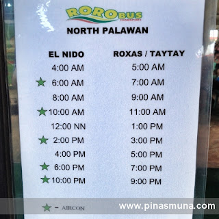 Schedule of Roro Bus going to El Nido Palawan