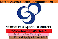 Catholic Syrian Bank Recruitment 2017– 30 Specialist Officers Chartered Accountants