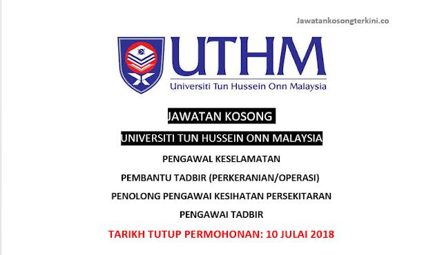 Jawatan Kosong di Universiti Tun Hussein Onn 2018