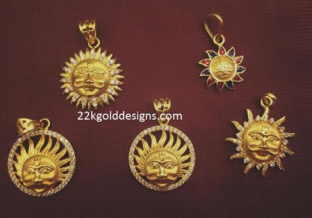 Sun Design Pendants in Gold for Men