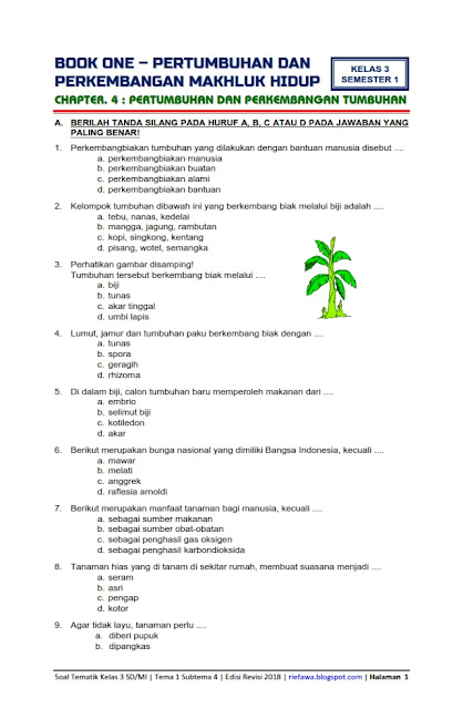 Soal Kelas 3 Tema 1 Subtema 2 : kelas, subtema, Download, Kunci, Balasan, Tematik, Kelas, Semester, Subtema, Pertumbuhan, Perkembangan, Makhluk, Hidup, Flora, Edisi, Revisi
