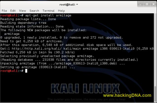 armitage installed on kali