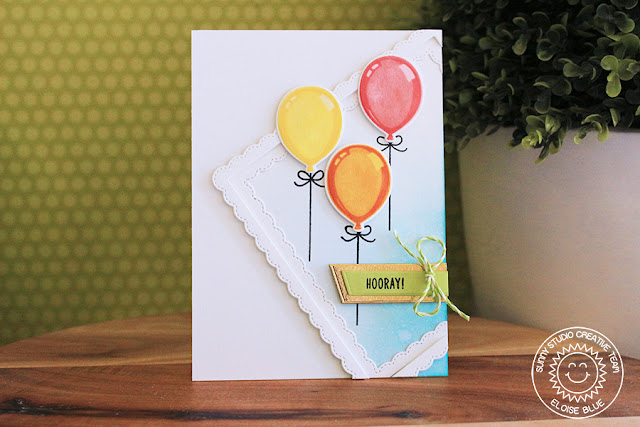 Sunny Studio Stamps: Birthday Balloon Fancy Frame Background Birthday Card by Eloise Blue