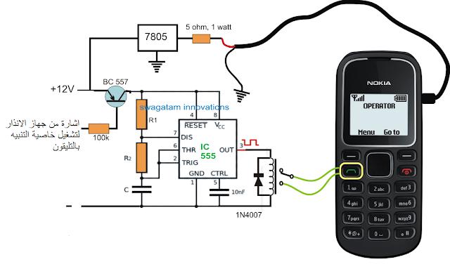 تصميم الدائرة المسئولة عن التنبيه بالتليفون جهاز انذار