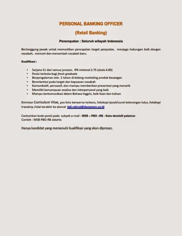 lowongan kerja Bank Personal Banking Officer
