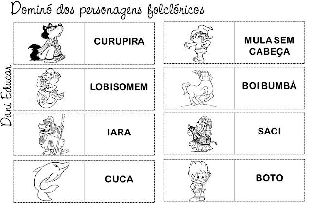 Nesta postagem trago para vocês uma super sugestão de dominó dos personagens folclóricos