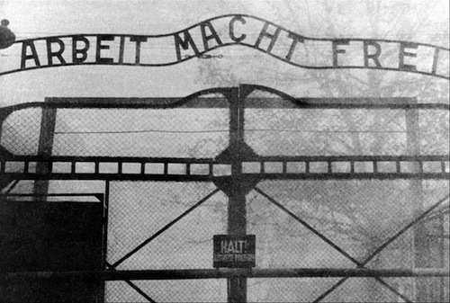 blacksmith made sign on gates to Auschwitz concentration camp