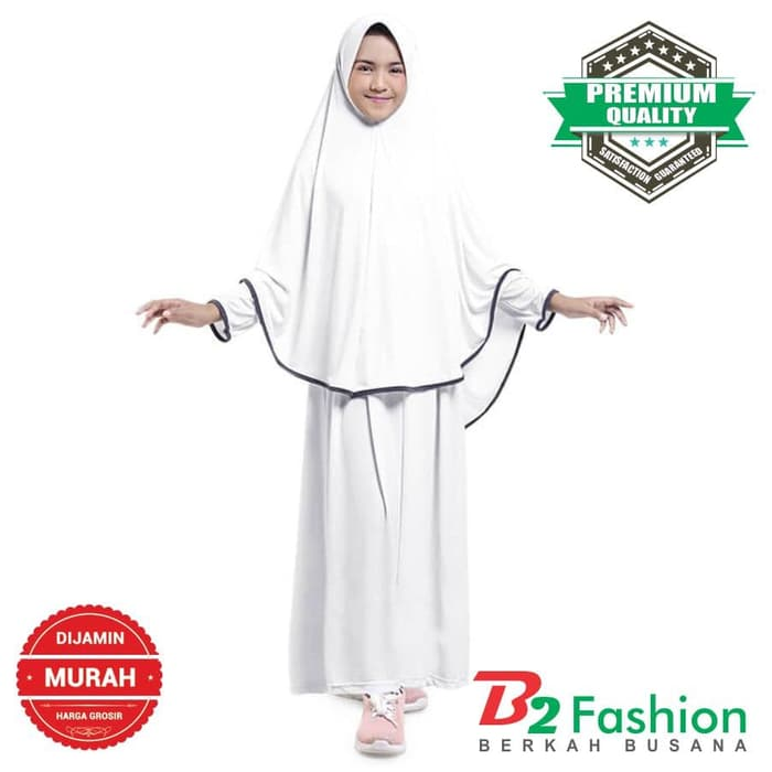 Baju Gamis Muslim Anak Perempuan Jersey Putih Garis Tepi Hitam 1-10 ... 4a16ba274e