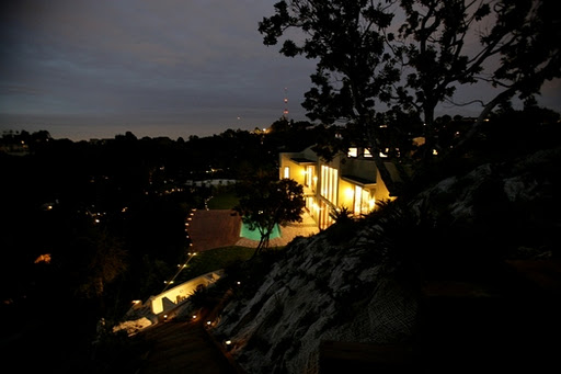 Picture of Rihanna's house as seen at night from the hill nearby