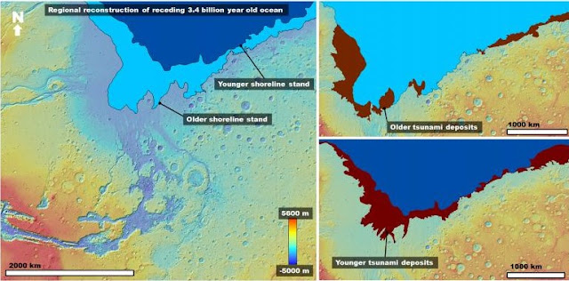 Left: Color-coded digital elevation model of the study area showing the two proposed shoreline levels of an early Mars ocean that existed approximately 3.4 billion years ago. Right: Areas covered by the documented tsunami events extending from these shorelines. Credit: Alexis Rodriguez / PSI