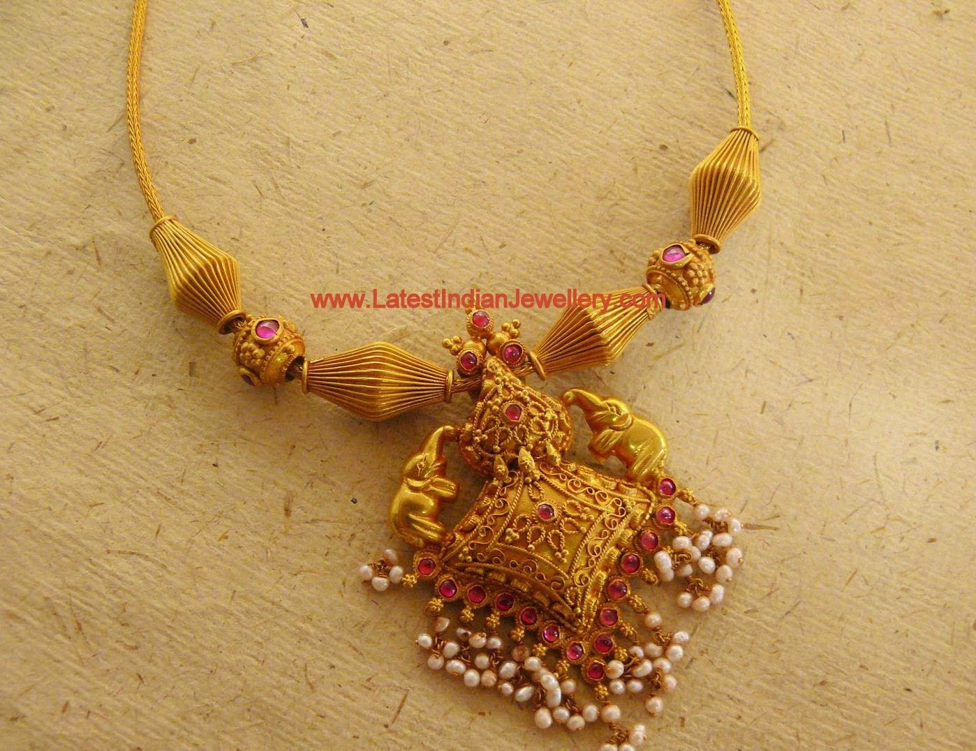Temple Style Traditional Gold Necklace Latest Indian