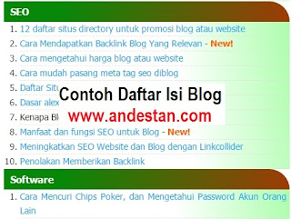 Datar isi Blog Andestan