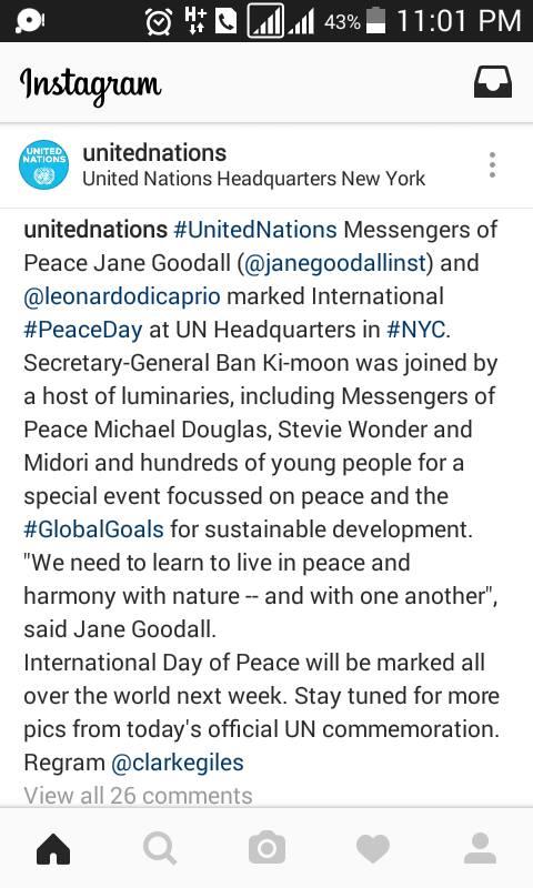 """شاهد:""""دي كابريو"""" و """"جين جوداول"""" بمركز قيادة الامم المتحدة"""