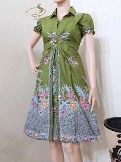 Dress Batik Rama Kupu Hijau