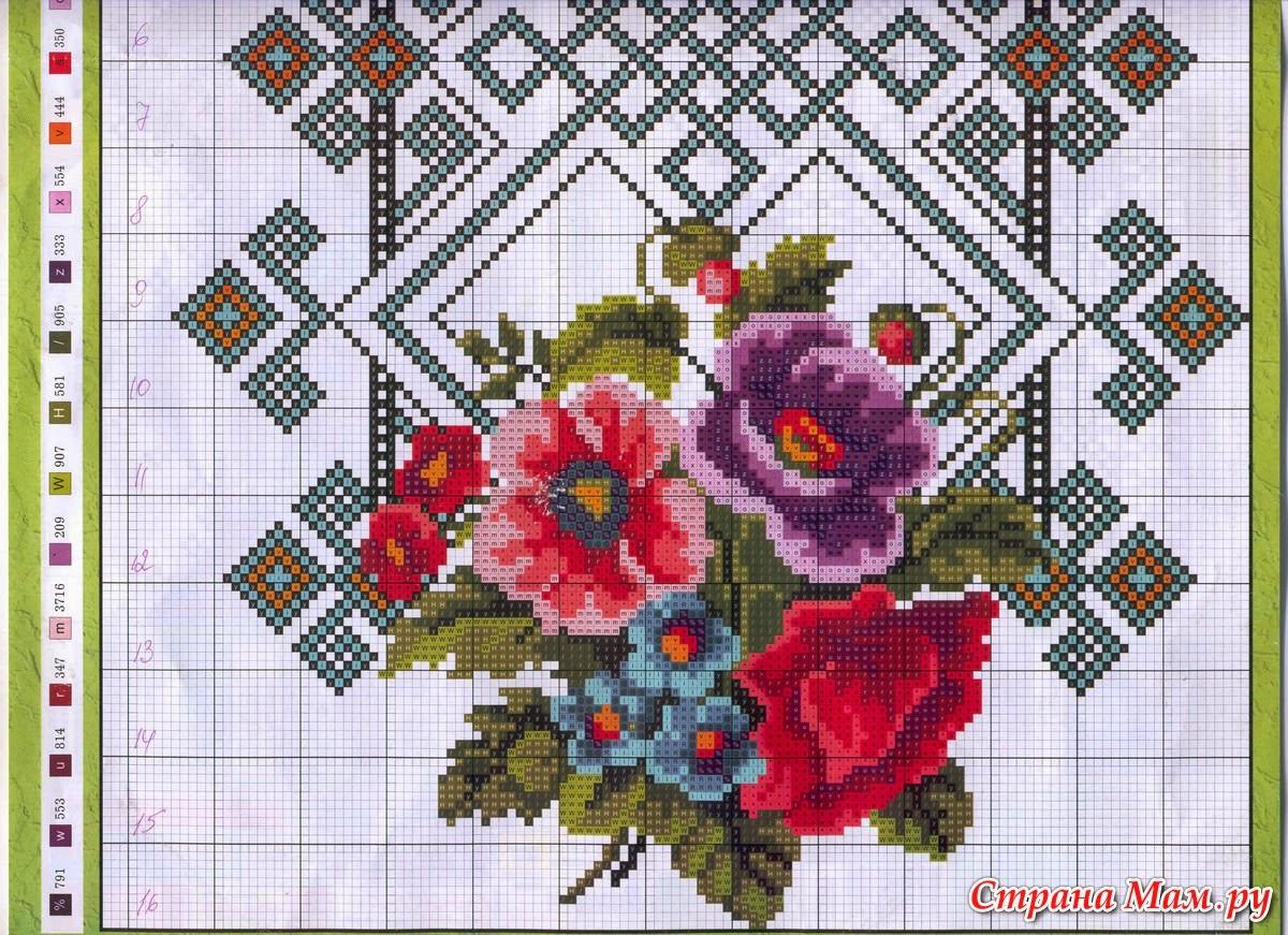 Цветы для вышиванки схемы бесплатно