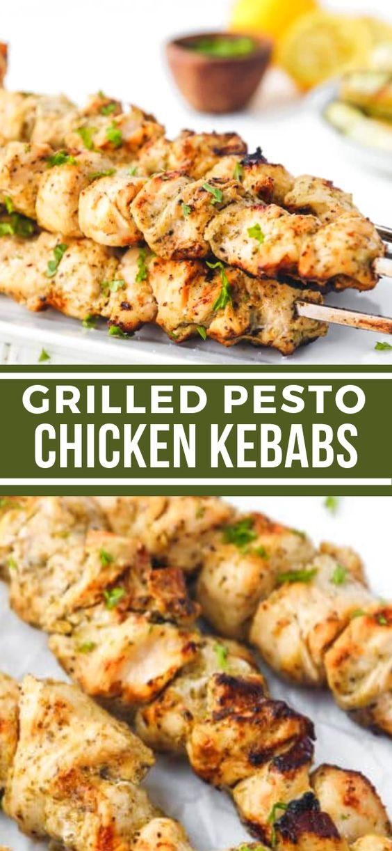 Pesto Marinated Chicken Mini Skewers