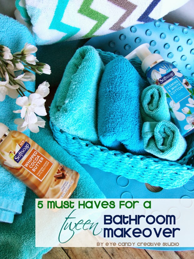 tween, softsoap, dress up the sink, foaming hand soap, blue bath towels, foam sensations