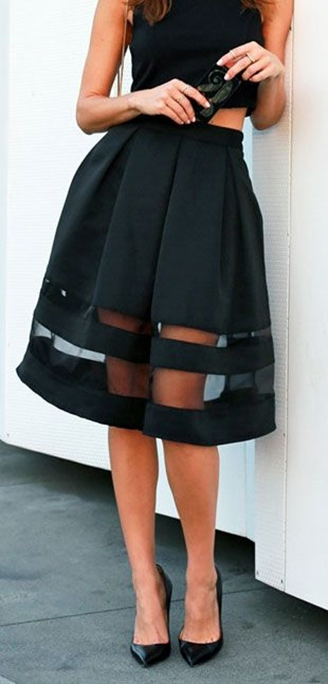 black on black _ bag + top + skirt + heels