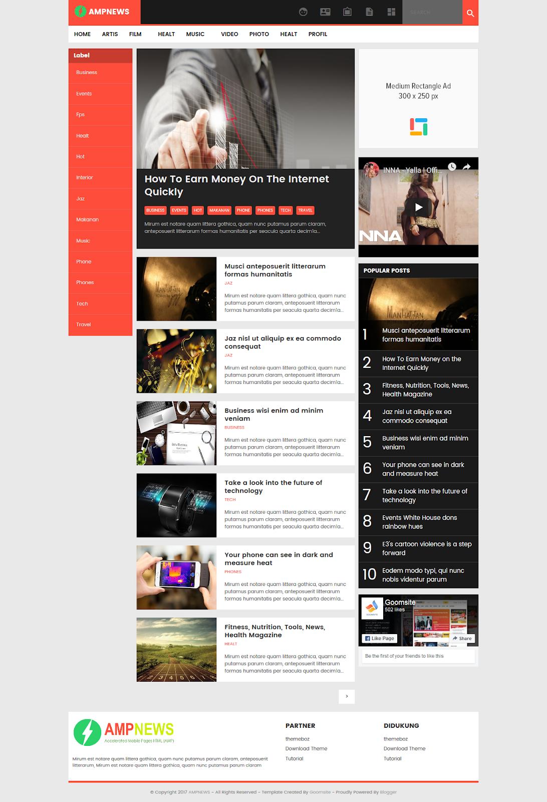 AMPNews Blogger Template