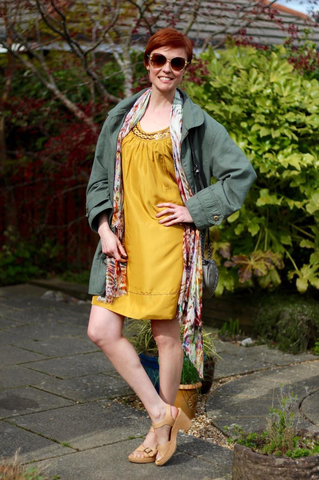 Fake Fabulous | Gold dress and khaki jacket