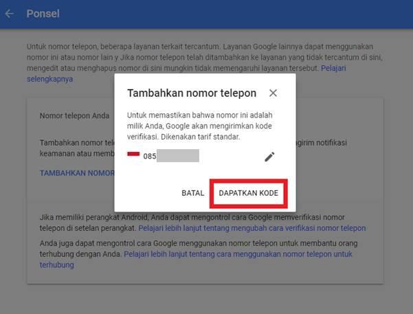 Gambar untuk Cara Menambahkan Nomor Telepon Pemulihan pada Akun Google / Gmail